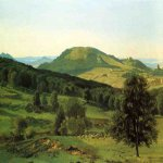 Albert Bierstadt (1830-1902)  Hill and Dale  Oil on paper laid down on canvas  18 3/4 x 26 1/4 inches (47.63 x 66.99 cm)  Public collection