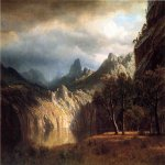 Albert Bierstadt (1830-1902)  In Western Mountains  Oil on canvas  8 5/8 x 11 3/4 inches (22 x 30 cm)  Public collection