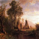 Albert Bierstadt (1830-1902)  Indian Encampment, Late Afternoon  Oil on canvas, 1862  20 x 28 inches (50.80 x 71.12 cm)  Public collection