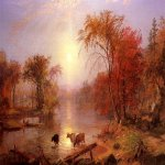 Albert Bierstadt (1830-1902)  Indian Summer - Hudson River  Oil on canvas laid down on board, 1861  24 x 41 inches (60.96 x 104.14 cm)  Public collection