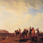 Albert Bierstadt (1830-1902)  Indians Travelling Near Fort Laramie  Oil on canvas, 1861  22 7/8 x 40 1/8 inches (58.4 x 102 cm)  Manoogian Collection