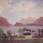 Albert Bierstadt (1830-1902)  Italian Lake Scene  Oil on paper  14 x 19 inches (35.6 x 48.3 cm)  Private collection