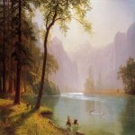 Albert Bierstadt (1830-1902)  Kern's River Valley, California  Oil on canvas  35 1/2 x 52 inches (90.17 x 132.08 cm)  Public collection