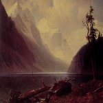 Albert Bierstadt (1830-1902)  Lake Louise  Oil on canvas, c.1889-1892  37 7/8 x 60 inches (96.5 x 152.4 cm)  Private collection