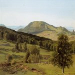 Albert Bierstadt (1830-1902)  Landscape: Hill and Dale  Oil on paper laid down on canvas  Public collection