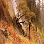 Albert Bierstadt (1830-1902)  Landscape Study: Yosemite, California  Oil on canvas  12 x 18 3/4 inches (30.48 x 47.63 cm)  Public collection