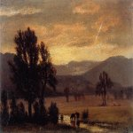 Albert Bierstadt (1830-1902)  Landscape with Cattle  Oil on board, 1859  Public collection