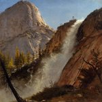 Albert Bierstadt (1830-1902)  Liberty Cam, Yosemite  Oil on paper laid down on canvas, 1873  Public collection