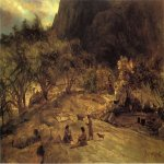 Albert Bierstadt (1830-1902)  Mariposa Indian Encampment, Yosemite Valley, California  Oil on paper laid down on canvas, c.1872  16 x 55 7/8 inches (40.64 x 141.94 cm)  Public collection