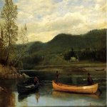 Albert Bierstadt (1830-1902)  Men in Two Canoes  Oil on paper,laid down on canvas  14 x 19 1/4 inches (35.56 x 49.21 cm)  Public collection
