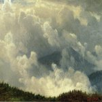 Albert Bierstadt (1830-1902)  Mountain Landscape  Oil on paper  15 x 11 inches (38.10 x 27.94 cm)  Public collection
