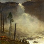 Albert Bierstadt (1830-1902)  Nevada Falls  Oil on paper laid down on canvas  13 3/4 x 20 3/4 inches (34.93 x 52.71 cm)  Public collection