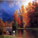 Albert Bierstadt (1830-1902)  On the Saco  Oil on canvas  30 x 44 inches (76.20 x 111.76 cm)  Public collection