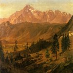 Albert Bierstadt (1830-1902)  Pikes Peak  Oil on paper mounted on canvas  13 1/2 x 19 1/4 inches (34.29 x 48.90 cm)  Public collection
