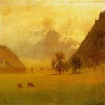 Albert Bierstadt (1830-1902)  Rhone Valley  Oil on canvas  14 x 19 1/2 inches (35.56 x 49.53 cm)  Public collection