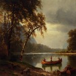 Albert Bierstadt (1830-1902)  Salmon Fishing on the Cascapediac River  Oil on canvas  Public collection