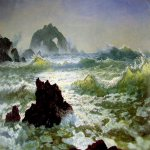 Albert Bierstadt (1830-1902)  Seal Rock, California  Oil on paper mounted on canvas, c.1872  15 7/8 x 22 inches (40.6 x 55.9 cm)  The Warner Collection of Gulf States Paper Corporation, Tuscaloosa