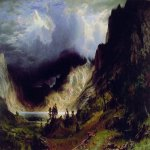 Albert Bierstadt (1830-1902)  Storm in the Rocky Mountains, Mt Rosalie  Oil on canvas, 1866  82 7/8 x 142 1/8 inches (210.8 x 361.3 cm)  The Brooklyn Museum