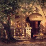 Albert Bierstadt (1830-1902)  Sunlight and Shadow  Oil on canvas, 1862  41 3/8 x 35 1/2 inches (105.4 x 90.2 cm)  The Fine Arts Museums of San Francisco