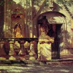 Albert Bierstadt (1830-1902)  Sunlight and Shadow  Oil on paper mounted on canvas, 1855  18 1/2 x 12 7/8 inches (47 x 33 cm)  The Newark Museum, Newark  BUY a Fine Art Print  the ARC Store and Support the Arts