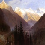 Albert Bierstadt (1830-1902)  Sunrise at Glacier Station  Oil on canvas  30 x 44 inches (76.20 x 111.76 cm)  Public collection