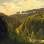 Albert Bierstadt (1830-1902)  Sunrise over Forest and Grove  Oil on paper laid down on canvas  10 1/4 x 13 1/4 inches (26.04 x 33.66 cm)  Public collection