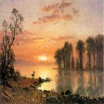 Albert Bierstadt (1830-1902)  Sunset  Oil on paper laid down on canvas, c.1868  5 1/2 x 8 3/4 inches (13.97 x 22.23 cm)  Public collection