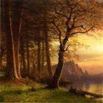 Albert Bierstadt (1830-1902)  Sunset in California - Yosemite  Oil on canvas  28 1/2 x 22 inches (72.39 x 55.88 cm)  Public collection