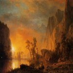 Albert Bierstadt (1830-1902)  Sunset in the Rockies  Oil on canvas, 1866  Public collection