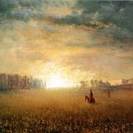 Albert Bierstadt (1830-1902)  Sunset of the Prairies  Oil on paper  4 1/4 x 7 1/2 inches (10.80 x 19.05 cm)  Public collection