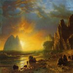 Albert Bierstadt (1830-1902)  Sunset on the Coast  Oil on canvas laid down on masonite, 1866  22 x 29 3/4 inches (55.88 x 75.57 cm)  Public collection