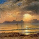 Albert Bierstadt (1830-1902)  Sunset Over A Mountain Lake  Oil on paper mounted on canvas  14 x 19 3/8 inches (35.6 x 49.5 cm)  Private collection