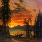 Albert Bierstadt (1830-1902)  Sunset over the River  Oil on canvas  37 x 52 inches (93.98 x 132.08 cm)  Public collection