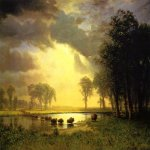 Albert Bierstadt (1830-1902)  The Buffalo Trail  Oil on canvas, 1867-1868  Public collection