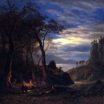 Albert Bierstadt (1830-1902)  The Campfire  Oil on paper mounted on canvas  17 3/4 x 13 3/4 inches (45.09 x 34.93 cm)  Public collection