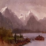 Albert Bierstadt (1830-1902)  The Grand Tetons, Wyoming  Oil on academy board  Public collection