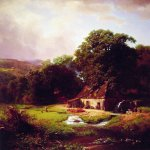 Albert Bierstadt (1830-1902)  The Old Mill  Oil on canvas, 1855  43 1/2 x 37 3/4 inches (110.5 x 95.9 cm)  Private collection