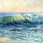 Albert Bierstadt (1830-1902)  The Wave  Oil on paper, c.1880  14 x 18 1/2 inches (35.56 x 46.99 cm)  Public collection