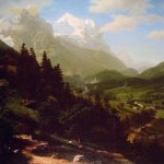 Albert Bierstadt (1830-1902)  The Wetterhorn  Oil on canvas, 1857  48 x 37 7/8 inches (122.2 x 96.5 cm)  Collection of Dr Howard P. Diamond