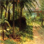 Albert Bierstadt (1830-1902)  Tropical Landscape  Oil on academy board  13 3/4 x 19 1/4 inches (34.93 x 48.90 cm)  Public collection