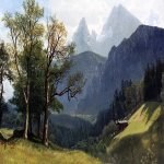 Albert Bierstadt (1830-1902) Tyrolean Landscape  Oil on canvas, 1868  13 3/4 x 19 1/2 inches (34.93 x 49.53 cm)  Public collection