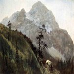 Albert Bierstadt (1830-1902)  Western Trail, the Rockies  Oil on paperboard laid down on masonite  14 x 19 1/2 inches (35.56 x 49.53 cm)  Public collection