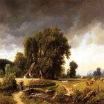 Albert Bierstadt (1830-1902)  Westphalian Landscape  Oil on canvas, 1855  26 x 34 inches (66.04 x 86.36 cm)  Public collection