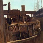 Albert Bierstadt (1830-1902)  Wharf Scene  Oil on canvas  13 1/2 x 19 1/2 inches (34.29 x 49.53 cm)  Public collection