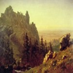 Albert Bierstadt (1830-1902)  Wind River Country  Oil on paper mounted on board, 1859  12 7/8 x 18 1/2 inches (33 x 47 cm)  Collection of Edward T. Wilson
