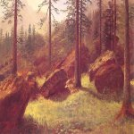 Albert Bierstadt (1830-1902)  Wooded Landscape  Oil on paper mounted on canvas  17 7/8 x 24 inches (45.7 x 61 cm)  Private collection
