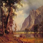 Albert Bierstadt (1830-1902)  Yosemite Valley  Oil on canvas, 1866  37 7/8 x 60 inches (96.5 x 152.4 cm)  Collection of Joann and Julian Ganz, jr.