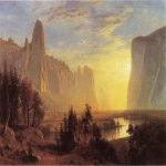 Albert Bierstadt (1830-1902)  Yosemite Valley, Yellowstone Park  Oil on canvas, 1868  36 x 54 inches (91.44 x 137.16 cm)  Public collection