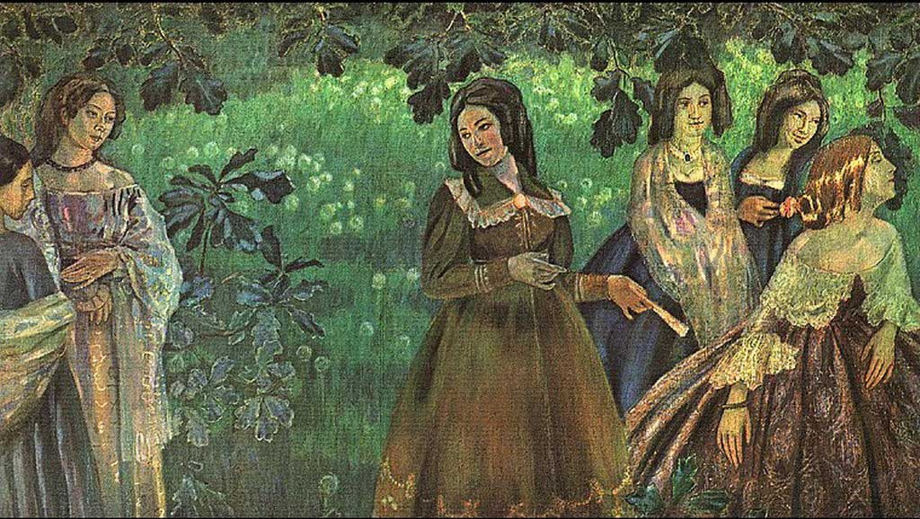 Victor Borisov-Musatov (1870-1905)  The Emerald Necklace  Tempera on canvas, 1903-1904  The Tretyakov Gallery, Moscow, Russia