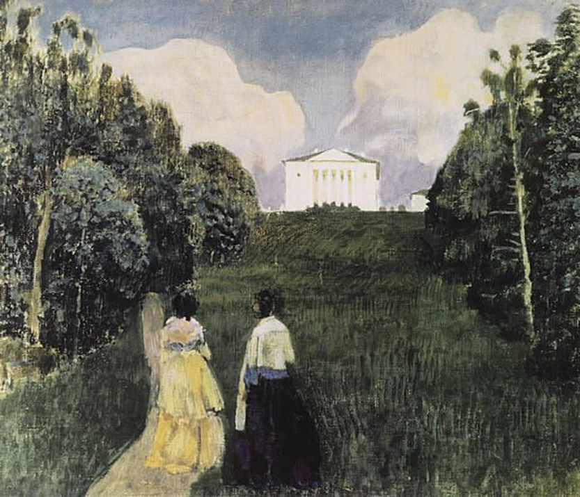 Victor Borisov-Musatov (1870-1905)  In the Light of the Setting Sun  Tempera on canvas, 1904  79 x 87 cm  The Art Museum, Nizhny Novgorod, Russia